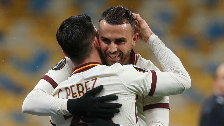 Roma's Borja Mayoral celebrates after scoring against Shakhtar Donetsk