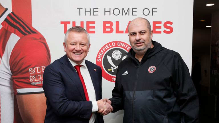Chris Wilder and Prince Abdullah shake hands on a new four-year deal for the manager in January 2020