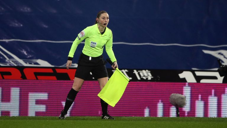 Assistant referee Sian Massey-Ellis during the Premier League match at The Hawthorns, West Bromwich Albion. Picture date: Tuesday January 26, 2021