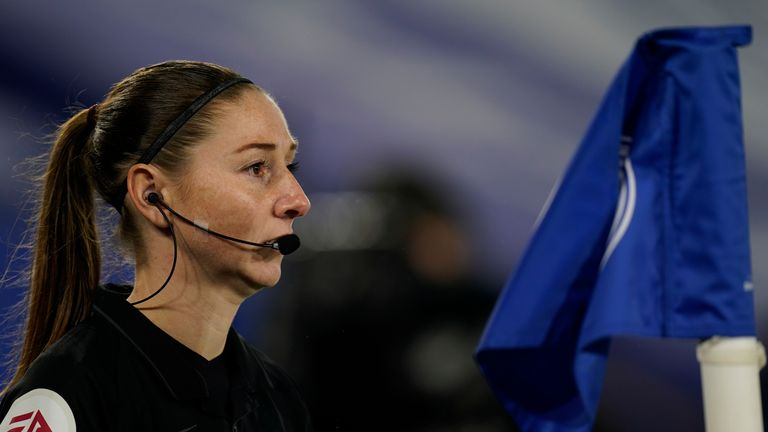 Assistant referee Sian Louise Massey-Ellis during the English Premier League soccer match between Leicester City and Chelsea at the King Power Stadium in Leicester, England, Tuesday, Jan. 19, 2021