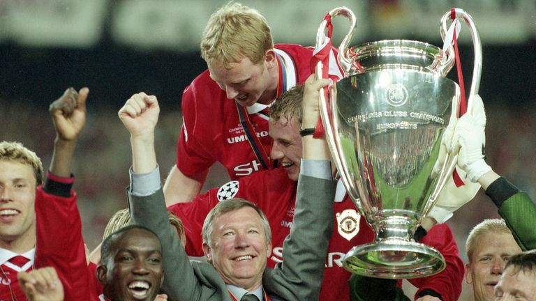 Sir Alex Ferguson led Manchester United to the treble 1999