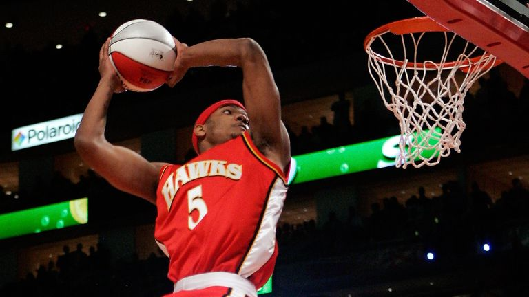 Atlanta Hawks forward Josh Smith competes in the slam dunk contest during NBA All-Star Saturday Night in Houston, Saturday, Feb. 18, 2006.