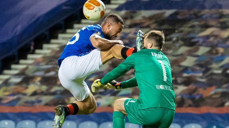 Rangers' Kemar Roofe catches Slavia's Ondrej Kolar with a boot in the face and is sent off during the Europa League Round of 16 2nd Leg match at Ibrox