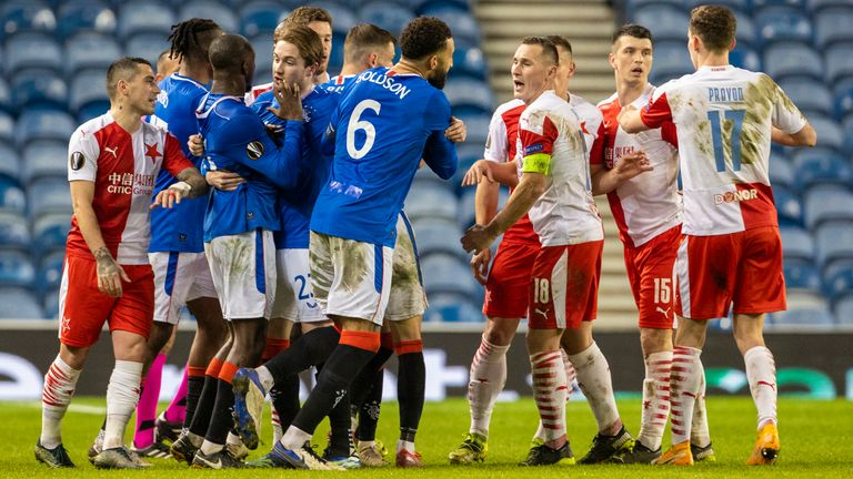 SNS - Rangers' Connor Goldson (left) and Glen Kamara take exception to something said by Slavia Prague's Ondre Kudela in their Europa League clash at Ibrox
