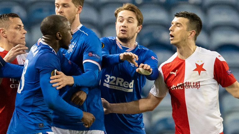 SNS - Rangers' Glen Kamara takes exception to something said by Slavia Prague's Ondre Kudela during the Europa League Round of 16 2nd Leg match at Ibrox