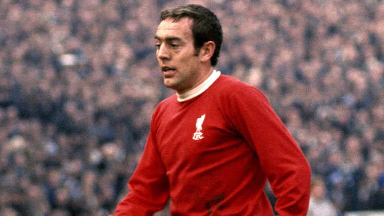 Ian St John, pictured playing for Liverpool in 1969