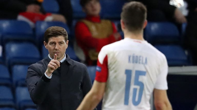 Steven Gerrard gestures towards Ondrej Kudela, later suggesting the Slavia Prague player had made racist comments