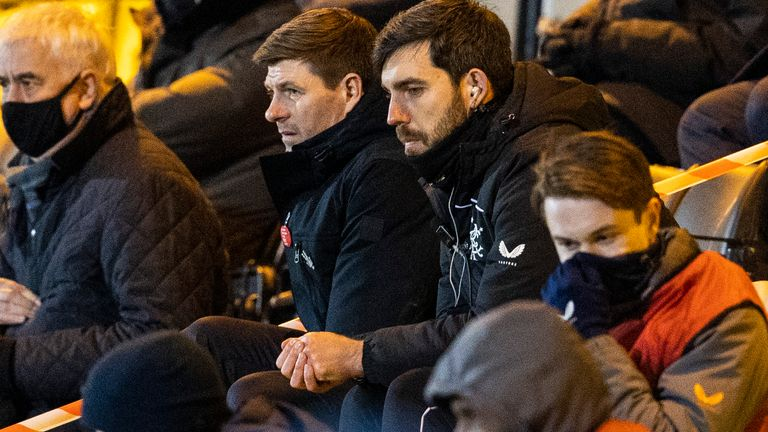 Gerrard was forced to watch the second half from the stands at the Tony Macaroni Arena