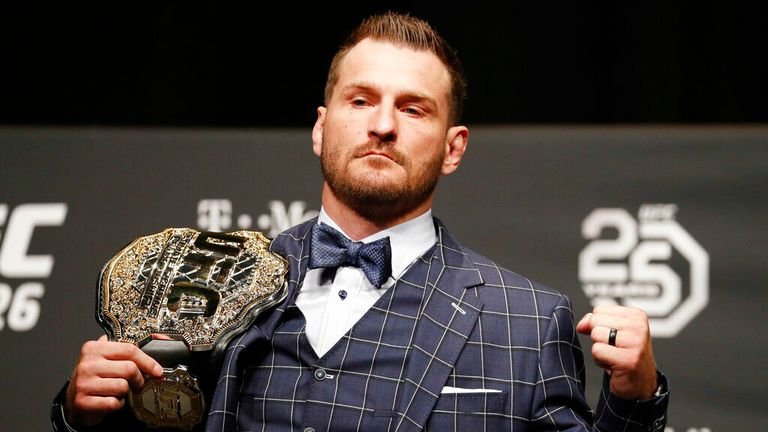 AP -  Stipe Miocic poses during a news conference for UFC 226 in Las Vegas