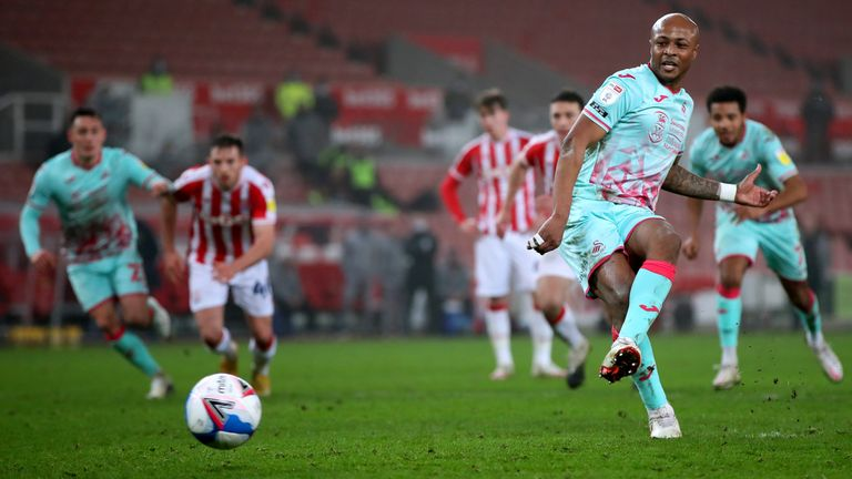 Andre Ayew scored a late penalty to earn Swansea the victory at Stoke