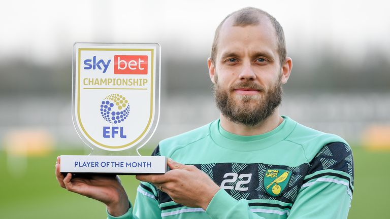 Norwich City's Teemu Pukki with the Sky Bet Player of the Month Award for February 2021.
