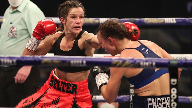 HANDOUT PICTURE COMPLIMENTS OF MATCHROOM BOXING.Terri Harper vs Katharina Thanderz, WBC and IBO World Super Featherweight Title fight..14 November 2020.Picture By Mark Robinson.