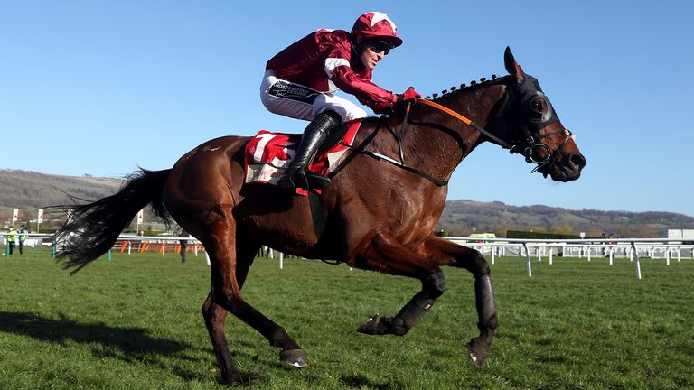 Tiger Roll and jockey Keith Donoghue on the way to winning the Glenfarclas Chase (A Cross Country Chase) during day two of the Cheltenham Festival
