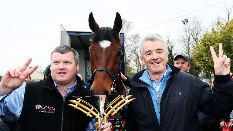 Tiger Roll with trainer Gordon Elliott, left, and owner Michael O'Leary