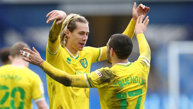 Todd Cantwell celebrates scoring Norwich's second goal against Sheffield Wednesday
