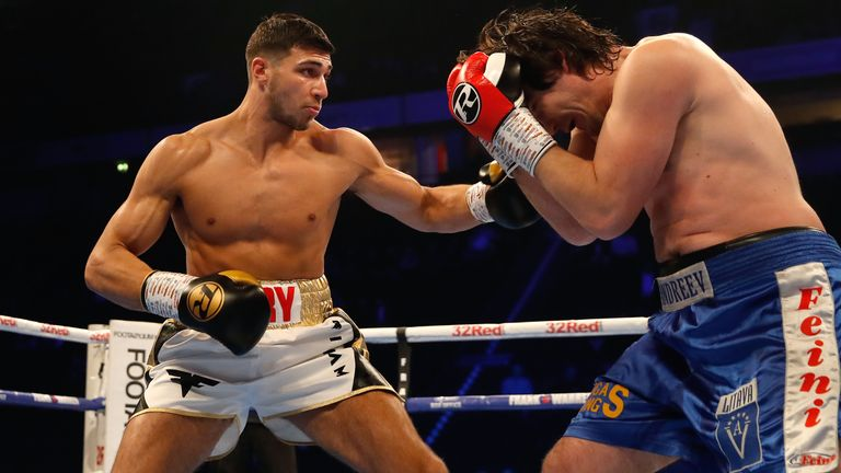 Tommy Fury (left) and Jevgenijs Andrejevs compete in the Light-Heavyweight Contest at Manchester Arena. PRESS ASSOCIATION Photo. Picture date: Saturday December 22, 2018. See PA story BOXING Manchester. Photo credit should read: Martin Rickett/PA Wire