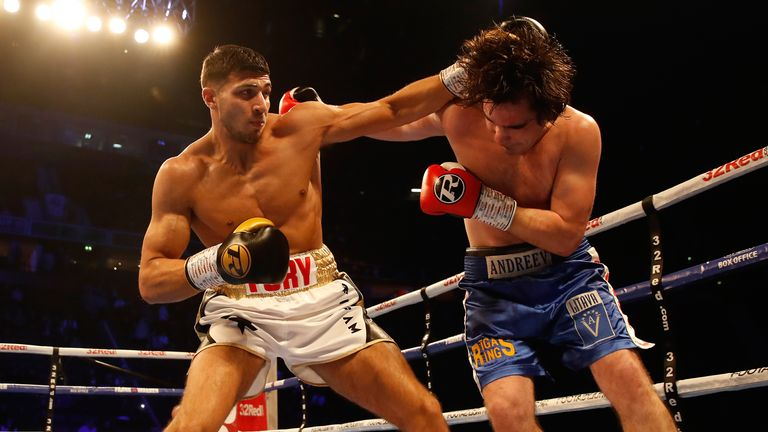 Tommy Fury (left) and Jevgenijs Andrejevs compete in the Light-Heavyweight Contes at Manchester Arena. PRESS ASSOCIATION Photo. Picture date: Saturday December 22, 2018. See PA story BOXING Manchester. Photo credit should read: Martin Rickett/PA Wire