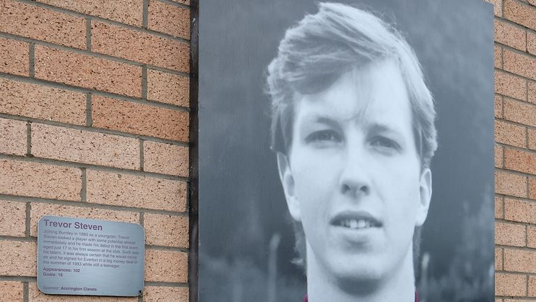 A photo of Trevor Steven at Turf Moor commemorates his time as a Burnley player