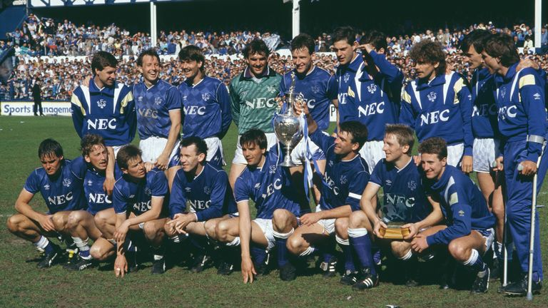 The Everton team celebrating with the League Championship trophy following their First Division match against Luton Town at Goodison Park in Liverpool, 9th May 1987