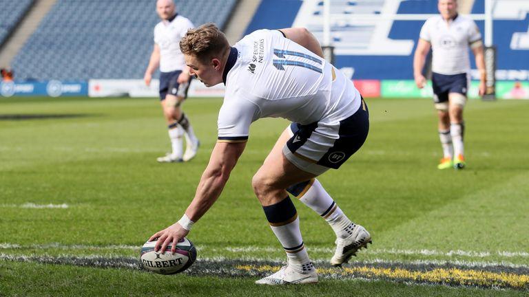 Duhan van der Merwe scored two of Scotland's eight tries against Italy