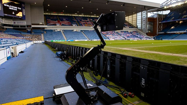 GLASGOW, SCOTLAND - FEBRUARY 25: VAR technology in operation during a UEFA Europa League match between Rangers and Royal Antwerp at Ibrox Stadium, on February 25, 2021, in Glasgow, Scotland. (Photo by Craig Williamson / SNS Group)