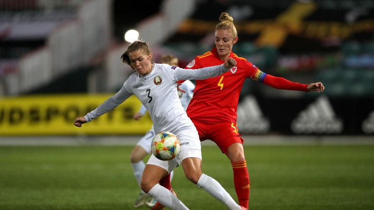 Wales' Sophie Ingle (right) and Belarus' Anastasia Linnik (left) battle for the ball during the…