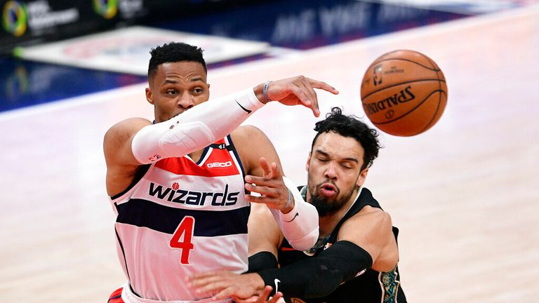 AP - Washington Wizards guard Russell Westbrook (4) passes the ball against Memphis Grizzlies guard Dillon Brooks (24)