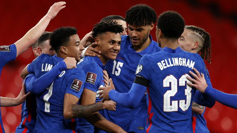 Ollie Watkins celebrates his first goal for England