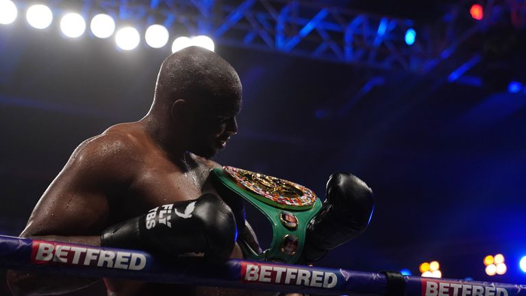 Alexander Povetkin v Dillian Whyte, Interim WBC Heavyweight World Title. 27 March 2021 Picture By Dave Thompson Matchroom Boxing Dillian Whyte celebrates his win.