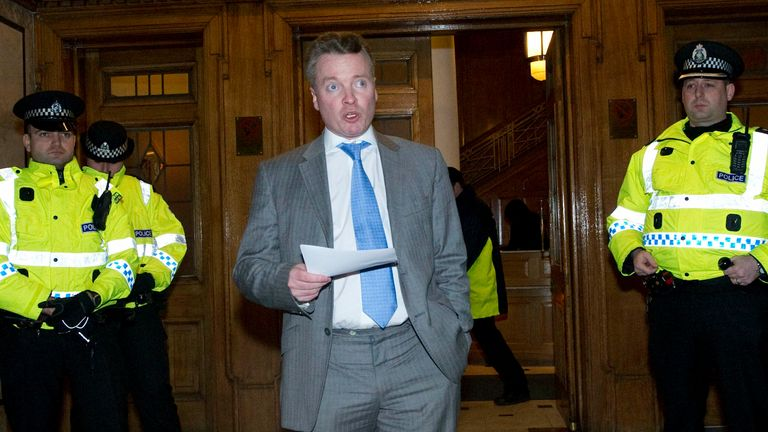 13/01/12.IBROX - GLASGOW.Rangers owner Craig Whyte makes a statement to the media on the day that Rangers serve notice of their intention to go into administration