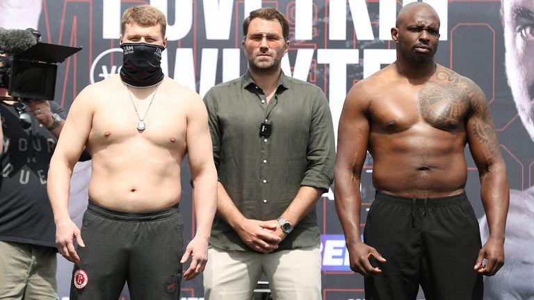 *** FREE FOR EDITORIAL USE ***.Alexander Povetkin and Dillian Whyte weigh in ahead of their Interim WBC Heavyweight World Title fight tomorrow night..26 March 2021.Picture By Mark Robinson Matchroom Boxing.