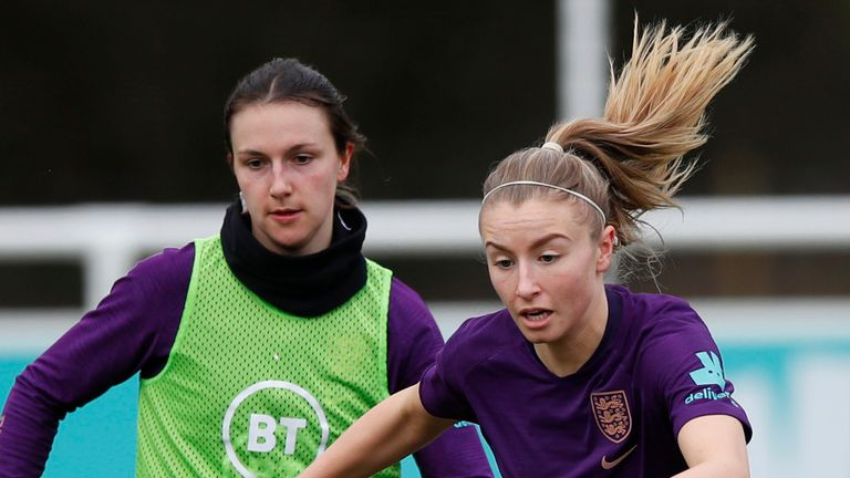 Arsenal duo Lotte Wubben-Moy, left, and Leah Williamson compete at England Women training in February 2021