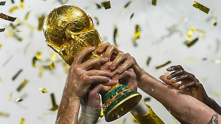 A view of the World Cup trophy during the final in 2018