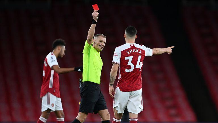 Granit Xhaka was dismissed vs Burnley