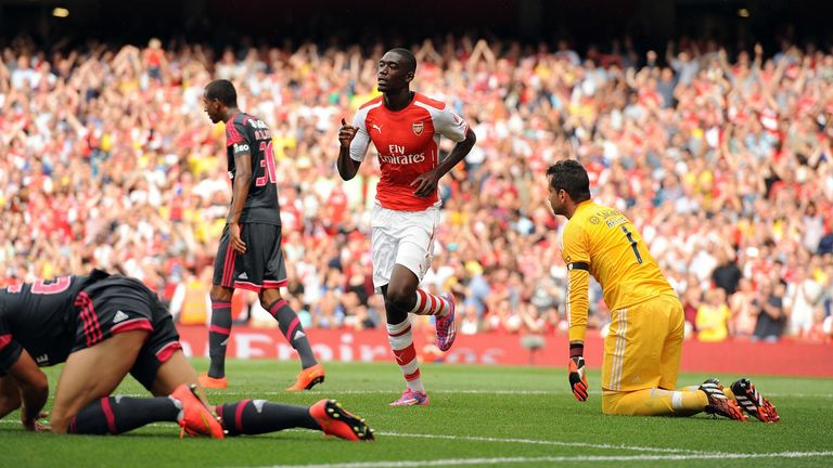 Arsenal's Yaya Sanogo celebrates scoring his side's first goal of the game during the Emirates Cup match at The Emirates Stadium, London. PRESS ASSOCIATION Photo. Picture date: Saturday August 2, 2014. See PA story SOCCER Arsenal. Photo credit should read: Andrew Matthews/PA Wire