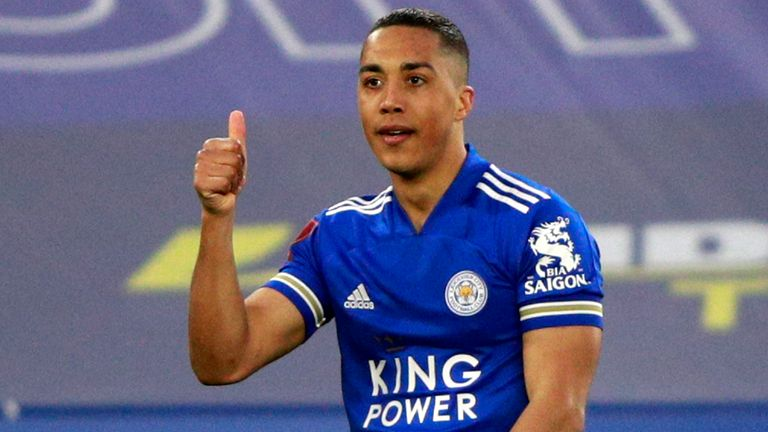 Leicester's Youri Tielemans celebrates after scoring his side's second goal during the English FA Cup quarter final between Leicester City and Manchester United at the King Power Stadium