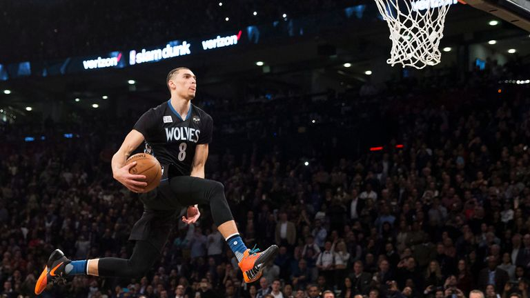 Zach LaVine slam dunks the ball during the NBA all-star skills competition in Toronto