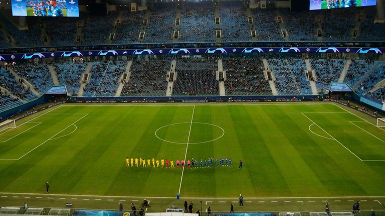 10,860 supporters were in attendance for Zenit's Champions League group stage clash with Borussia Dortmund in December