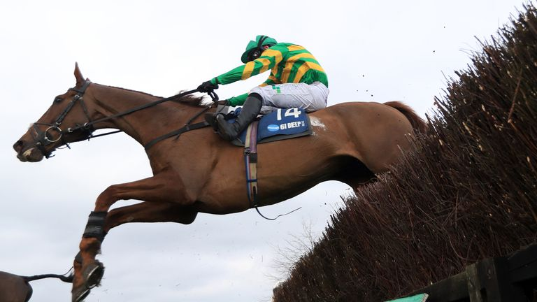 UTTOXETER, ENGLAND - MARCH 20: Time To Get Up ridden by Jonjo O'Neill Jr. on their way to winning the Marston's 61 Deep Midlands Grand Nationalon their way to winning the Marston's 61 Deep Midlands Grand National at Uttoxeter Racecourse on March 20, 2021 in Uttoxeter, England. (Photo by Mike Egerton - Pool/Getty Images)