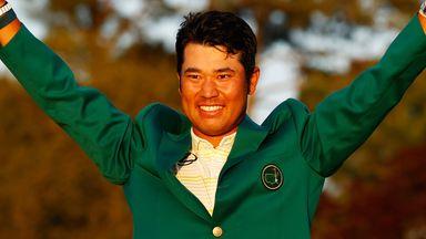 Hideki Matsuyama celebrates after winning the Masters