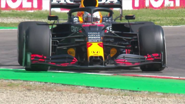 Max Verstappen runs wide and is off in the gravel during Practice One ahead of the Imola GP.
