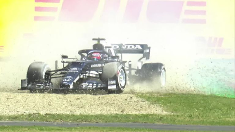 One of the other rookies in the field, Yuki Tsunoda, has now found the gravel in his AlphaTauri.