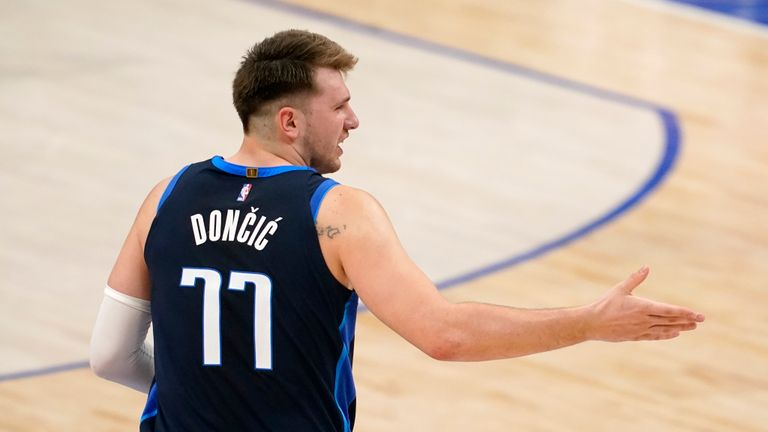 Luka Doncic made the speculative three-pointer as Dallas went further ahead in the third quarter against Detroit.
