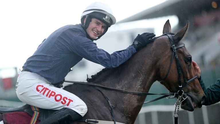 Colreevy and David Mullins after winning the Dooley Insurance Group Champion Novice Chase during day one of the Punchestown Festival at Punchestown Racecourse in County Kildare, Ireland. Issue date: Tuesday April 27, 2021.