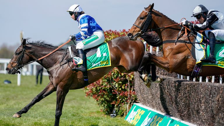 ESHER, ENGLAND - APRIL 24: Bryony Frost riding Frodon (L) clear the ditch on their way to winning The bet365 Oaksey Chase at Sandown Park Racecourse on April 24, 2021 in Esher, England. Sporting venues around the UK remain under restrictions due to the Coronavirus Pandemic. Only owners are allowed to attend the meeting but the public must wait until further restrictions are lifted. (Photo by Alan Crowhurst/Getty Images)