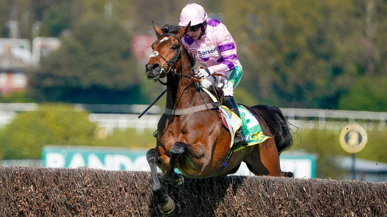 ESHER, ENGLAND - APRIL 24: Bryony Frost riding Greaneteen clear the last to win The bet365 Celebration Chase at Sandown Park Racecourse on April 24, 2021 in Esher, England. Sporting venues around the UK remain under restrictions due to the Coronavirus Pandemic. Only owners are allowed to attend the meeting but the public must wait until further restrictions are lifted. (Photo by Alan Crowhurst/Getty Images)