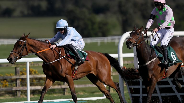 Honeysuckle (left) ridden by Rachael Blackmore on their way to winning the Paddy Power Champion Hurdle ahead of Sharjah (right) ridden by Patrick Mullins, during Day Four of the Punchestown Festival at Punchestown Racecourse in County Kildare, Ireland. Issue date: Friday April 30, 2021.