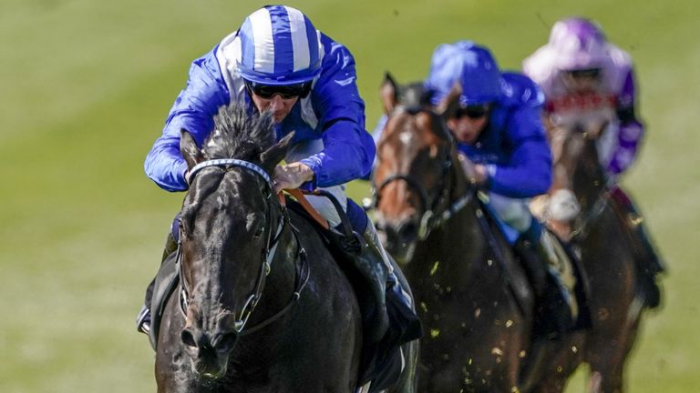 Jockey Jim Crowley riding Mutasaabeq on their way to winning at Newmarket