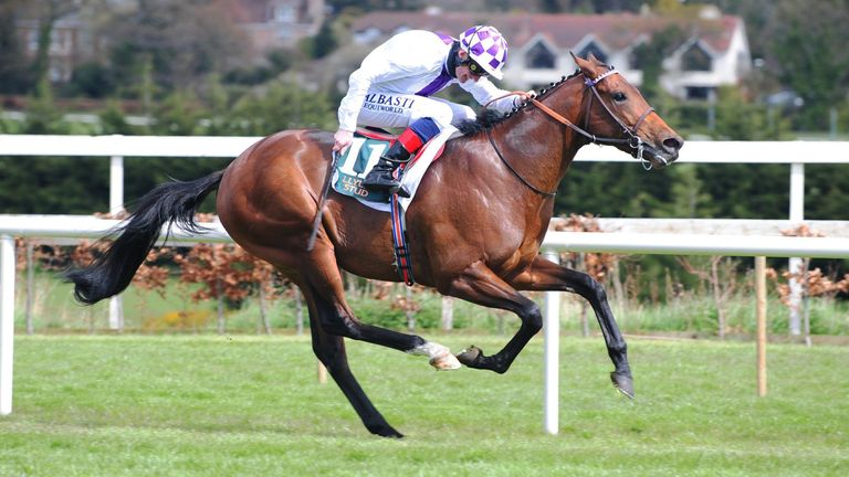 Kevin Manning riding Poetic Flare on their way to winning the Ballylinch Stud 'Red Rocks' 2,000 Guineas Trial Stakes at Leopardstown