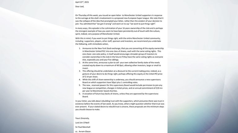 Lord Jim O'Neill's letter to Joel Glazer